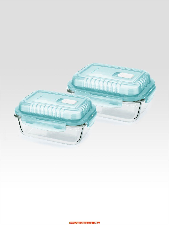 LLG432VGS1FU 高盖气阀耐热玻璃保鲜盒彩盒装两件套