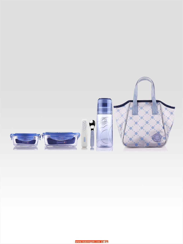 LC-S2506 凡尔赛彩盒装五件套 (大方形+ 小方形+ 凡尔赛随手瓶+ 餐具勺子+ 小色丁布餐包
