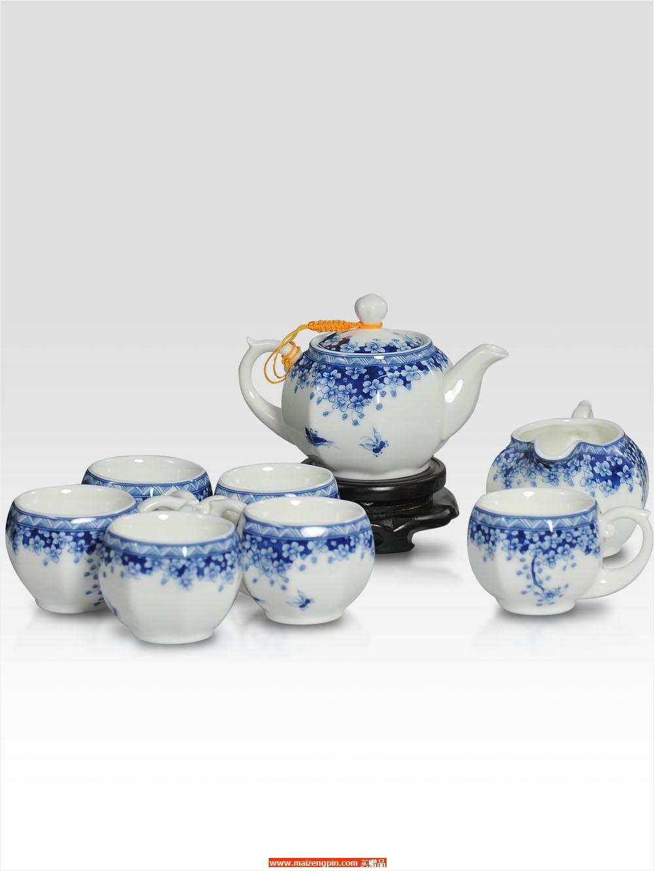 MC-B072藏艺-青花蝴蝶兰八方茶具