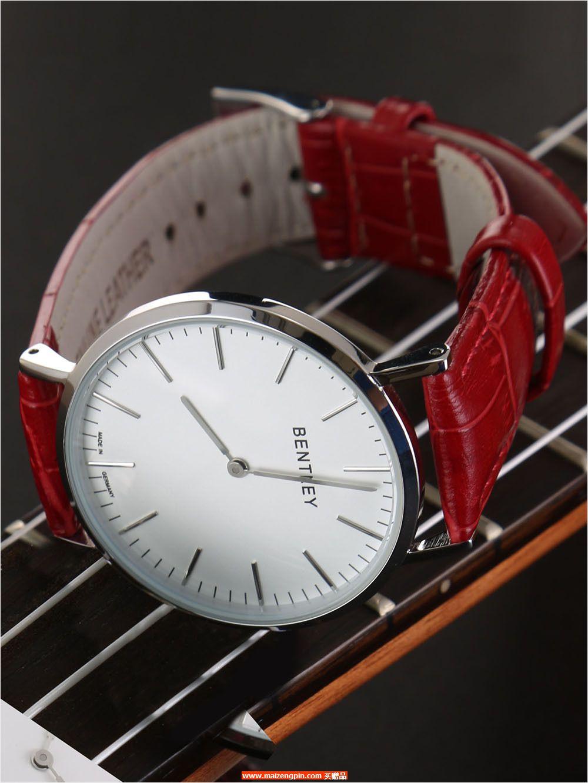BL520-1314LWWRBENTLEY 钢色壳白面红色鳄纹 牛皮表带 女士腕表