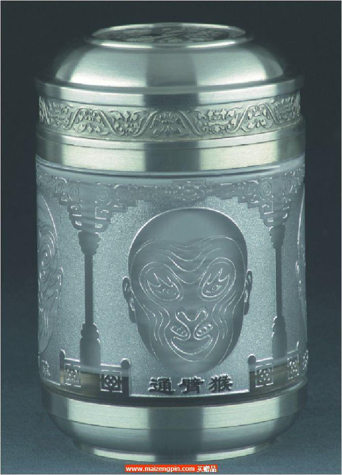《美猴脸谱》锡制水晶茶叶罐