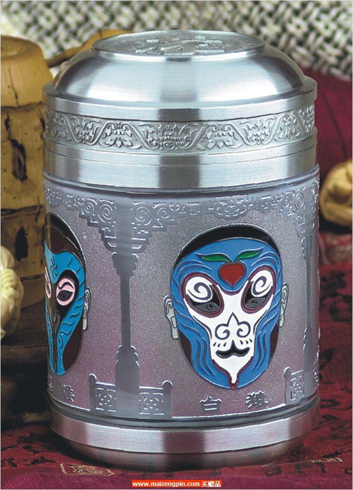 《美猴脸谱》大号彩色水晶罐