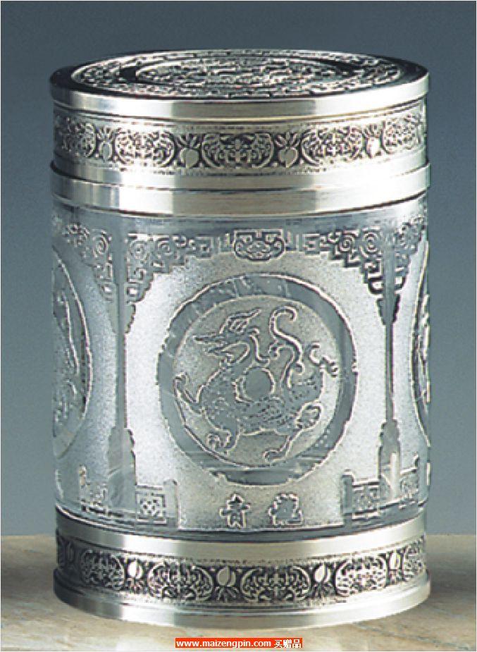 《四神纹》锡制水晶茶叶罐