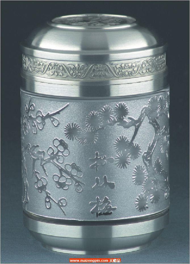 《松竹梅》锡制水晶茶叶罐
