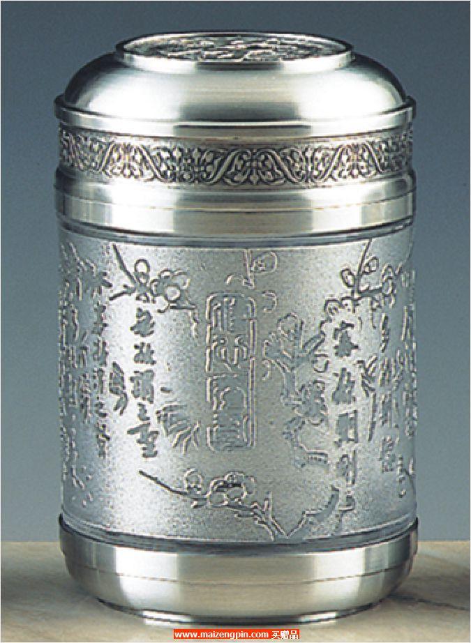 《修心养身》锡制水晶茶叶罐