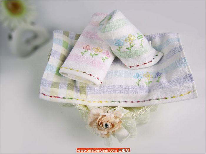 缎边隐条绣花面巾